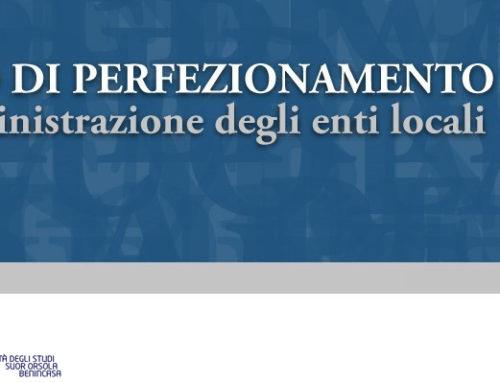 Corso di perfezionamento in Amministrazione degli enti locali | II edizione | venerdì 6 marzo