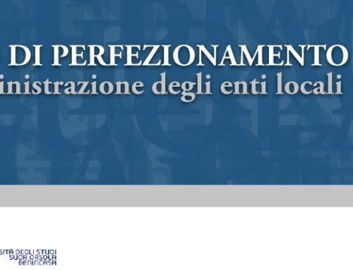Corso di perfezionamento in Amministrazione degli enti locali | II edizione | venerdì 6 marzo 2020