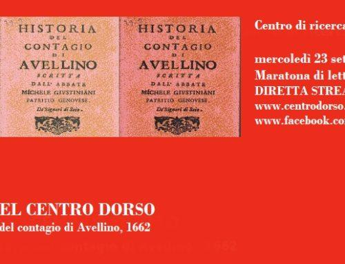 LE LETTURE DEL CENTRO DORSO | M. Giustiniani, Historia del contagio di Avellino, 1662 | Maratona di lettura online | mercoledì 23 settembre 2020