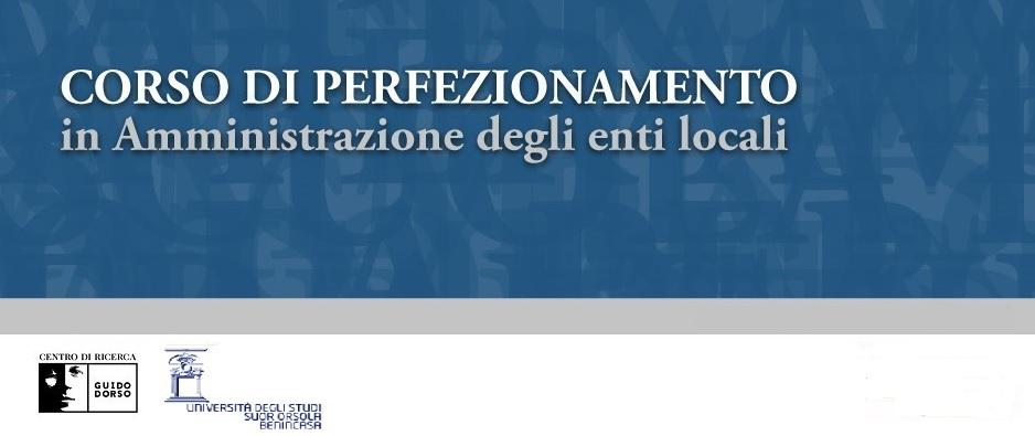 Corso di perfezionamento in Amministrazione degli enti locali | III edizione | venerdì 4 giugno 2021