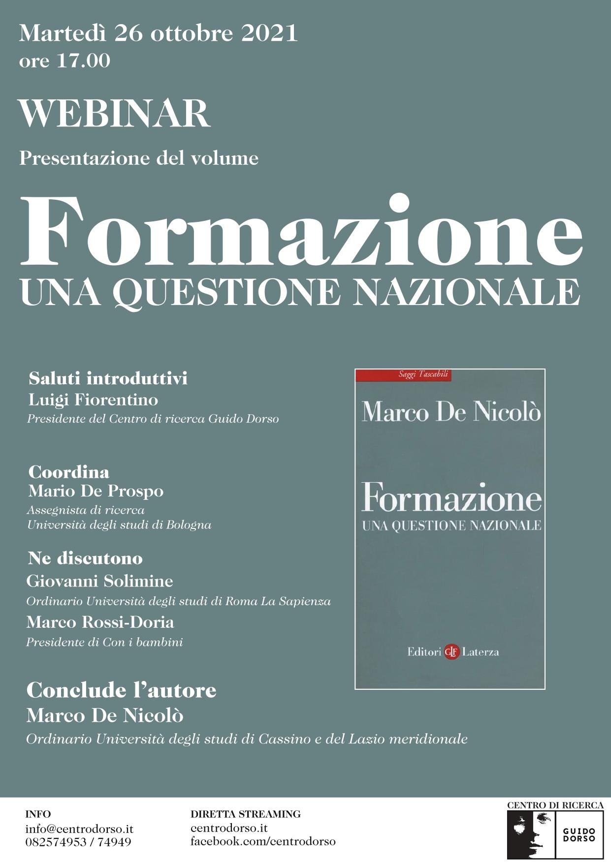 Marco De Nicolò | Formazione. Una questione nazionale | martedì 26 ottobre 2021